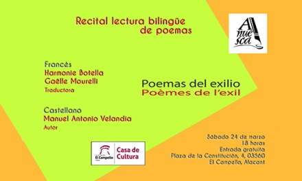 """Recital-lectura bilingüe de """"Poemas del exilio"""" organizado por ANUESCA en la Casa de la Cultura de El Campello"""