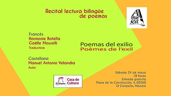 Recital-lectura bilingüe de «Poemas del exilio» organizado por ANUESCA en la Casa de la Cultura de El Campello