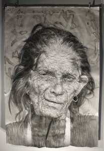"""""""Sauraha"""". Charcoal + ink on wrinkled paper (185 x 135 x 16 cm)"""