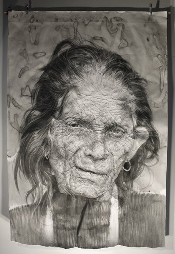 """Sauraha"". Charcoal + ink on wrinkled paper (185 x 135 x 16 cm)"