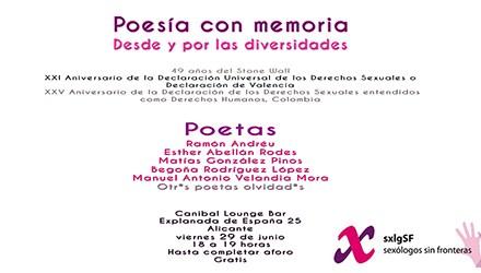 Poesía con memoria, desde y por las diversidades, da comienzo al orgullo de la diversidad sexual en Alicante