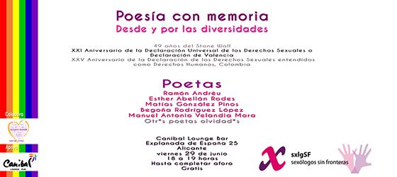 Poesía con memoria, desde y por las diversidades, celebra orgullo en Alicante