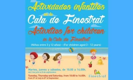 Vuelven las actividades infantiles gratuitas del verano a la Cala de Finestrat