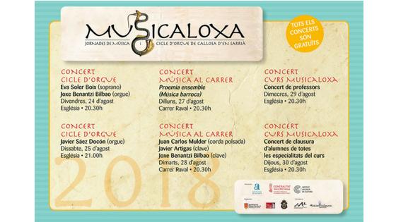 La música antigua volverá a sonar en Callosa d'en Sarrià del 24 al 31 de agosto con 'Musicaloxa'