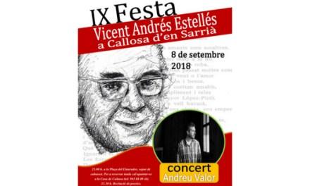Callosa d'en Sarrià celebra la 'Festa Estellés' amb un sopar popular, un recital de poesies i el concert d'Andreu Valor