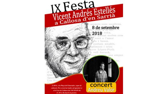 Callosa d'en Sarrià celebra la 'Festa Estellés' con una cena popular, un recital de poesías y el concierto de Andreu Valor