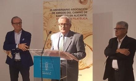 L'Associació d'Amics del Camí de Santiago a Alacant presenta una exposició filatèlica en el Palau de la Diputació d'Alacant