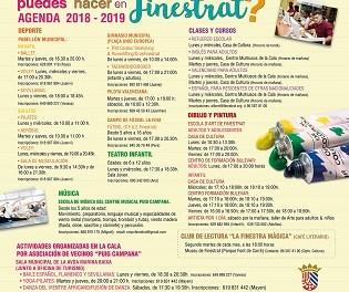 """Finestrat llança la campanya """"QUÉ PUEDES HACER EN FINESTRAT"""" amb tota l'oferta esportiva, educativa i artística de la localitat per al curs 2018-2019"""