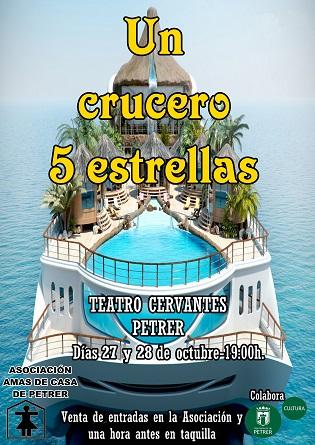 """""""Un crucero 5 estrellas"""" atracará en el Teatro Cervantes de Petrer los días 27 y 28 de octubre"""