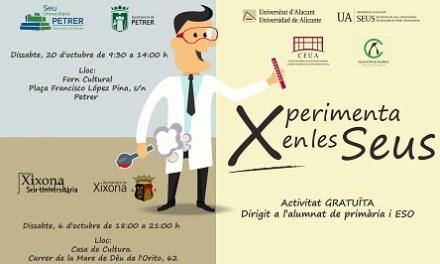 """""""Xperimenta en la Sede"""": experiments científics per als més menuts a les seus universitàries de Xixona i Petrer"""