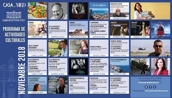La literatura y el periodismo protagonizan la programación de noviembre de Casa Mediterráneo