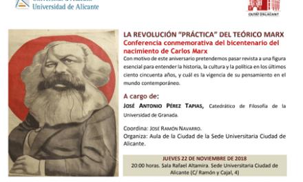 José Antonio Pérez Tapias, político y catedrático de Filosofía, imparte una conferencia sobre Marx en la Sede Ciudad de Alicante