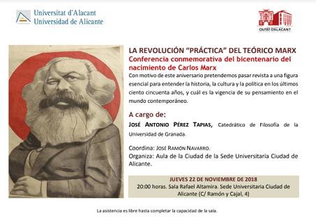 José Antonio Pérez Tapias, polític i catedràtic de Filosofia, imparteix una conferència sobre Marx en la Seu Ciutat d'Alacant
