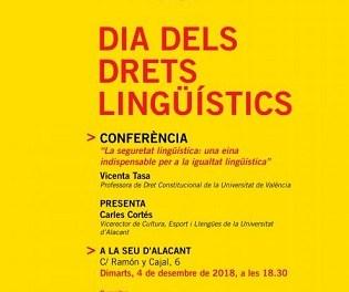 La Universitat d'Alacant commemora el Dia dels Drets Lingüístics amb una conferència sobre la seguretat lingüística
