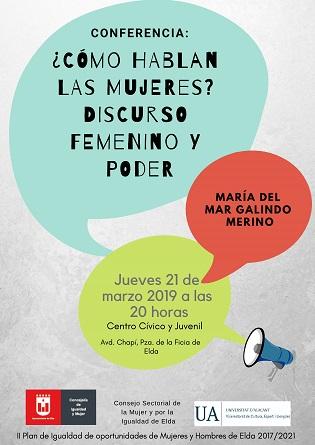 L'Ajuntament d'Elda organitza una conferència per a analitzar les característiques del discurs femení