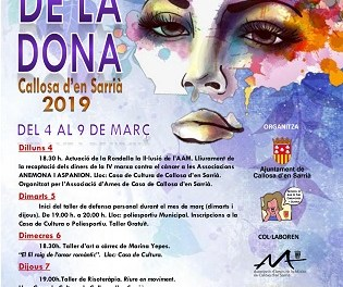 Callosa d'en Sarrià celebra la Semana de la Mujer del 4 al 9 de marzo con diversas actividades