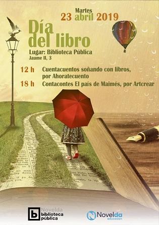 Una lectura colectiva de autores locales y cuentacuentos, actividades para conmemorar el Día del Libro en Novelda