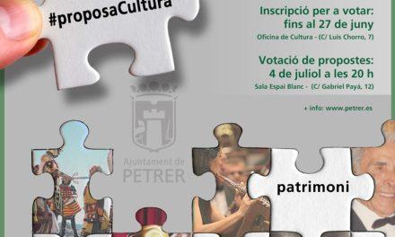 Petrer destinarà fins a 4.500 € per a finançar les propostes culturals que proposen els col·lectius i veïns de la localitat