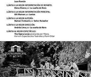 """El Teatre Principal d'Alacant celebra la seua """"IV Gala de Premis de temporada José Estruch"""" el dilluns 21 d'octubre"""