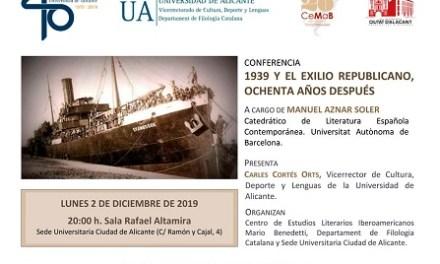 Manuel Aznar parlarà de '1939 i l'exili republicà, vuitanta anys després' a la Seu ciutat d'Alacant