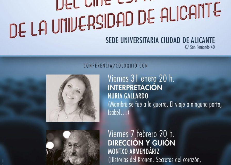 Nuria Gallardo, Montxo Armendáriz y Rosana Pastor en las V Jornadas profesionales del cine español de la Universidad de Alicante