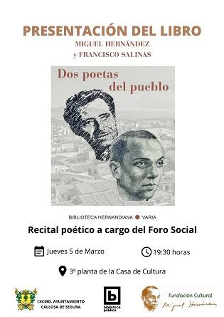 """Aquest dijous es presentarà a Callosa de Segura el llibre """"Miguel Hernández i Francisco Salinas: dos poetes del poble"""""""