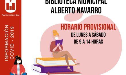 El Ayuntamiento de Elda ha reabierto la Biblioteca Municipal Alberto Navarro con medidas restrictivas para garantizar la seguridad del personal y de los usuarios