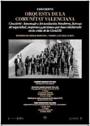 El Ayuntamiento de Elche rinde homenaje a los héroes que han luchado contra  la pandemia con un concierto de la  Orquestra de la Comunitat Valenciana