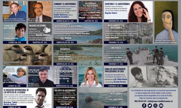 Arte, fotografía y actualidad se dan cita en la programación de julio de Casa Mediterráneo