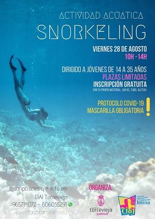 La concejalía de juventud de Torrevieja organiza el viernes, 28 de agosto, una actividad de snorkel