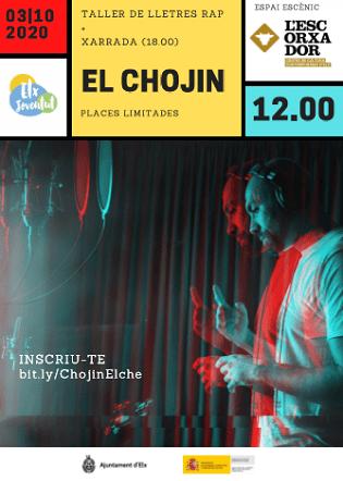 El Chojin impartirá el sábado en L'Escorxador de Elche un taller de letras de rap con valores