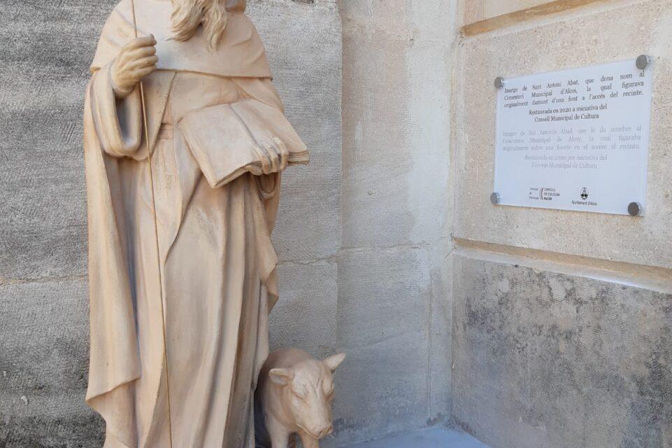 El Ayuntamiento de Alcoy restaura la imagen de San Antonio Abad del Cementerio