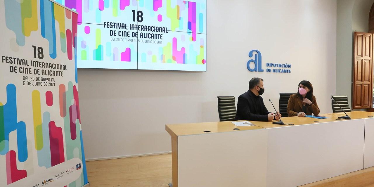 La Diputación acoge la presentación del cartel del Festival de Cine de Alicante, una colorista obra del diseñador Alfredo León