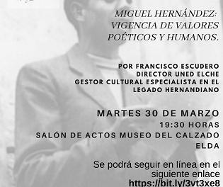 El Ayuntamiento de Elda organiza una conferencia sobre Miguel Hernández para conmemorar el Día de Recuerdo y Homenaje a las Víctimas de la Guerra Civil y la Dictadura