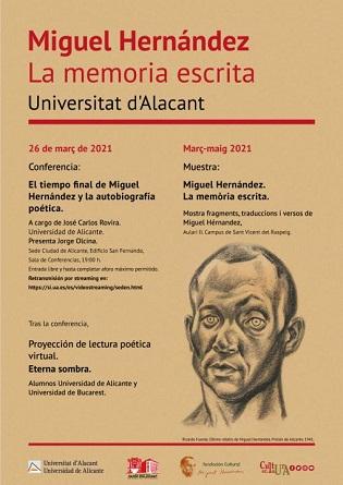 La Universitat d'Alacant commemora el setanta-nou aniversari de la mort del poeta Miguel Hernández