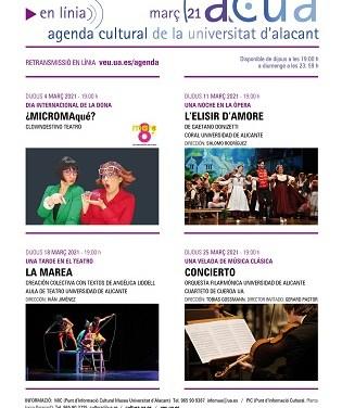 Nueva programación cultural de la Universidad de Alicante para el mes de marzo