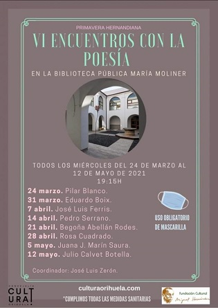 "Begoña Abellán Rodes recitarà aquest dimecres a la Biblioteca Pública Municipal ""María Moliner"" d'Oriola"