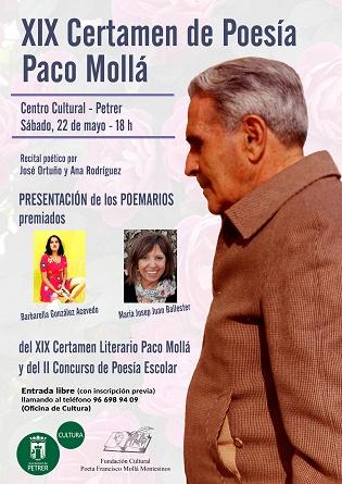Este sábado Petrer presenta los poemarios ganadores del XIX Certamen de Poesía Paco Mollá