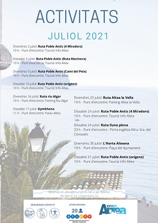 Turismo anuncia las actividades de julio para conocer Altea