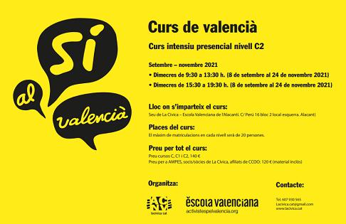 Curs intensivo presencial de valencià nivel C2. Septiembre – Noviembre 2021