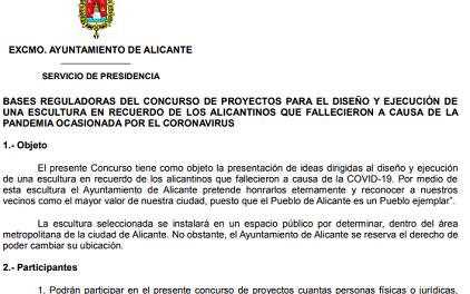 Abierto el plazo para concursar en la escultura en homenaje a las víctimas del Covid 19 en Alicante