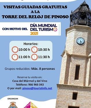 Pinoso celebrará el Día Mundial del Turismo con visitas guiadas a la Torre del Reloj