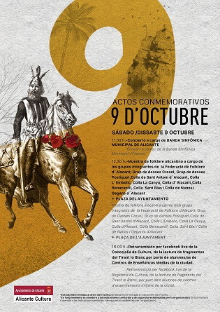 Música y folclore alicantino en la plaza del Ayuntamiento para los actos de celebración del 9 d´Octubre