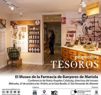 El Instituto Gil-Albert finaliza octubre con una conferencia sobre el Museo de la Farmacia de Banyeres de Mariola y poesía