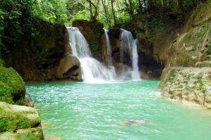 The mag aso waterfalls in antequera, bohol, philippines