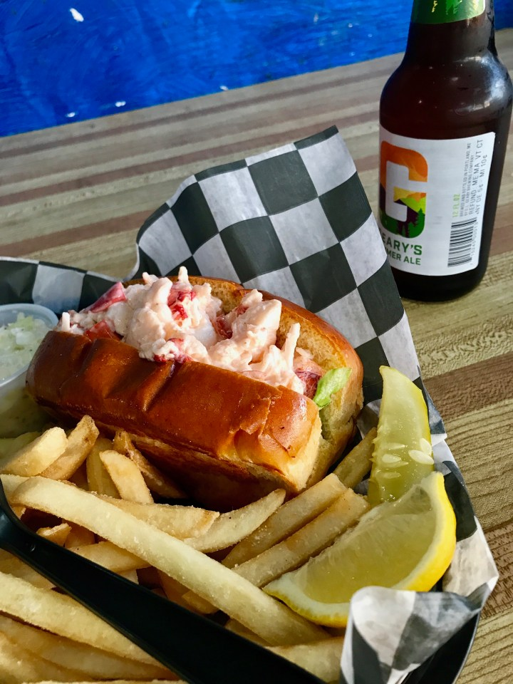 Lobster roll fries and beer!