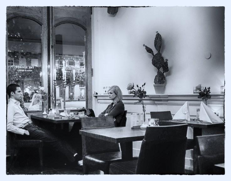 Restaurant, Haarlem. Couple having dinner.
