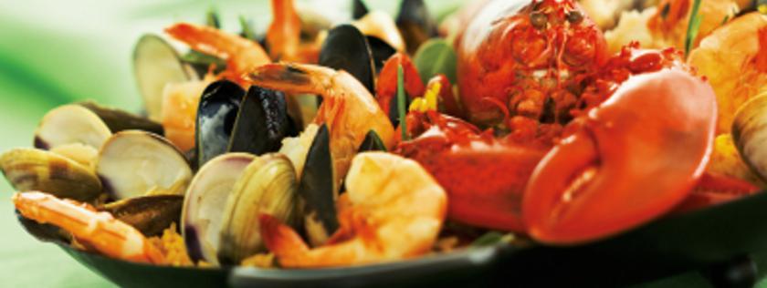 lobster seafood paella in dish