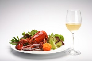 Cooked Maine Lobster served with a unoaked chardonnay wine