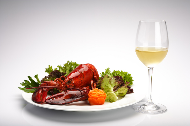Cooked Maine lobster with white wine